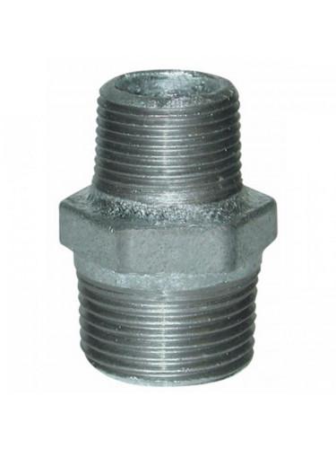 Raccord fonte galvanisé réduction galva MM ½'' x 3/8''